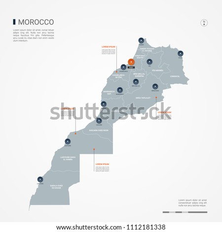 Morocco Map Borders Cities Capital Rabat Stock Vector (Royalty Free ...