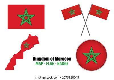 Morocco , MAP - FLAG - BADGE