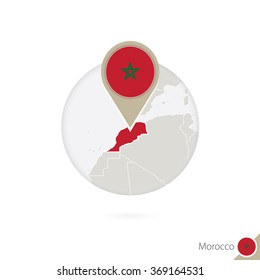 Morocco map and flag in circle. Map of Morocco, Morocco flag pin. Map of Morocco in the style of the globe. Vector Illustration.