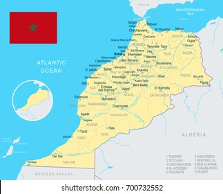 Morocco map and flag - vector illustration