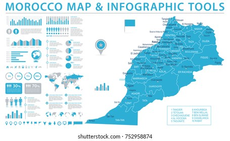 Morocco Map - Info Graphic Vector Illustration