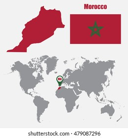 Morocco map on a world map with flag and map pointer. Vector illustration
