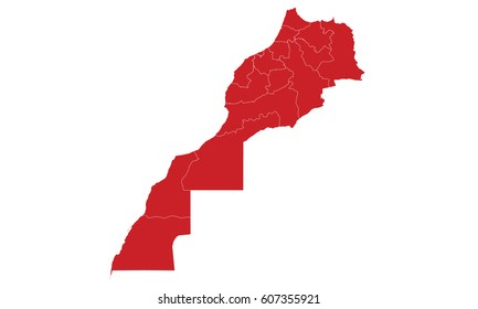 Morocco map red color