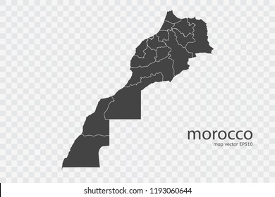 morocco map vector, isolated on transparent background.