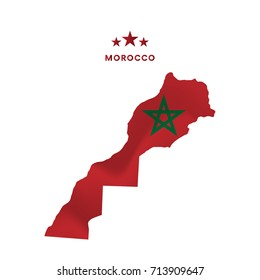 Morocco map with waving flag. Vector illustration.