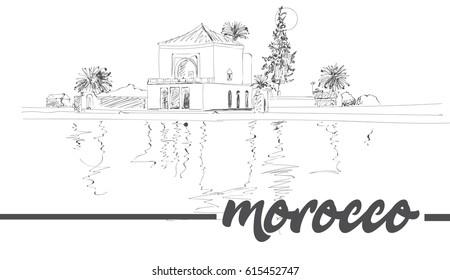 Morocco Marrakesh Menara Pavilion reflected on lake in late afternoon sunshine