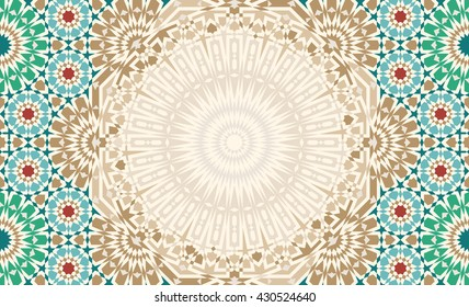 Morocco Mosaic Abstract Template. Traditional Arabic Islamic Design background. Green, ocher, red on beige.