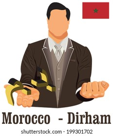 Morocco national currency symbol Moroccan dirham representing money and Flag. Vector design concept of businessman in suit with his open hand over with currency isolated on white background in EPS10.