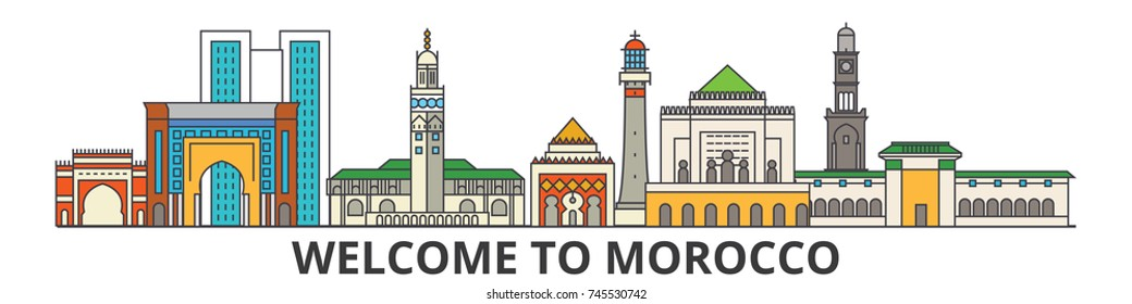 Morocco outline skyline, Moroccan flat thin line icons, landmarks, illustrations. Morocco cityscape, Moroccan travel city vector banner. Urban silhouette