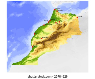 Morocco. Physical vector map, colored according to elevation, with rivers and selected cities. Surrounding territory greyed out. 61 named layers, fully editable. Data source: NASA