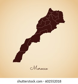 Morocco region map: retro style brown outline on old paper background. Detailed map of Morocco regions. Vector illustration.