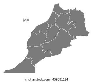Morocco regions Map grey