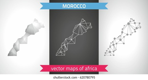 Morocco set of grey and silver mosaic 3d polygonal maps. Graphic vector triangle geometry outline shadow perspective maps