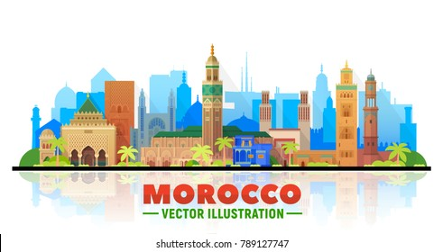 Morocco skyline with panorama in white background. Vector Illustration. Business travel and tourism concept with modern buildings. Image for presentation, banner, placard and web site.