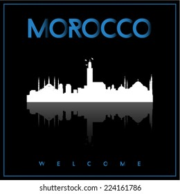 Morocco skyline silhouette vector design on parliament blue and black background.