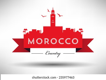 Morocco Skyline with Typography Design