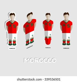 Morocco Soccer Team Sportswear Template. Front View of Outdoor Activity Sportswear for Men and Boys. Digital background vector illustration. Stylish design for t-shirts, shorts and boots.