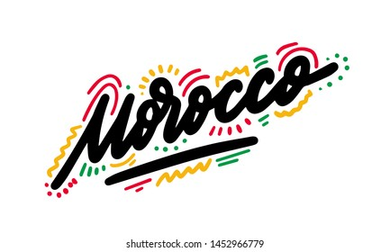 Morocco Text with Creative Handwritten Font Design Vector Illustration. - Vector