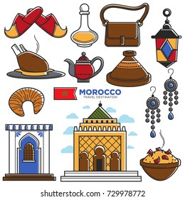Morocco tourism travel famous symbols and tourist Morrocan landmarks vector icons