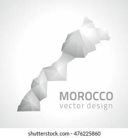 Morocco vector grey and silver polygonal modern map