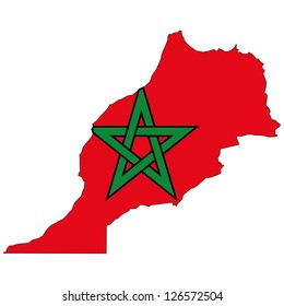 Morocco vector map with the flag inside.