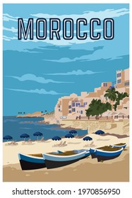 Morocco Vintage Vacation poster design, perfect for tshirt design and merchandise