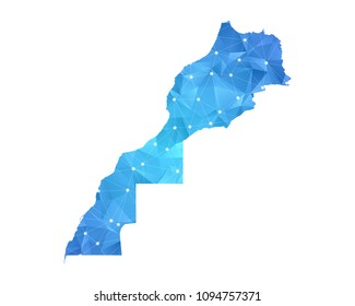 Morocco Western Sahara Map - Abstract geometric rumpled triangular low poly style gradient graphic on white background.