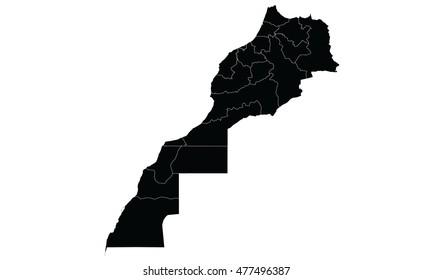 Morocco Western Sahara map black color
