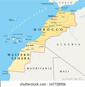 Morocco And Western Sahara Map - Hand drawn map of Morocco and Western Sahara with capitals Rabat and El Aiun, national borders, most important cities, rivers and lakes. English labeling and scale.