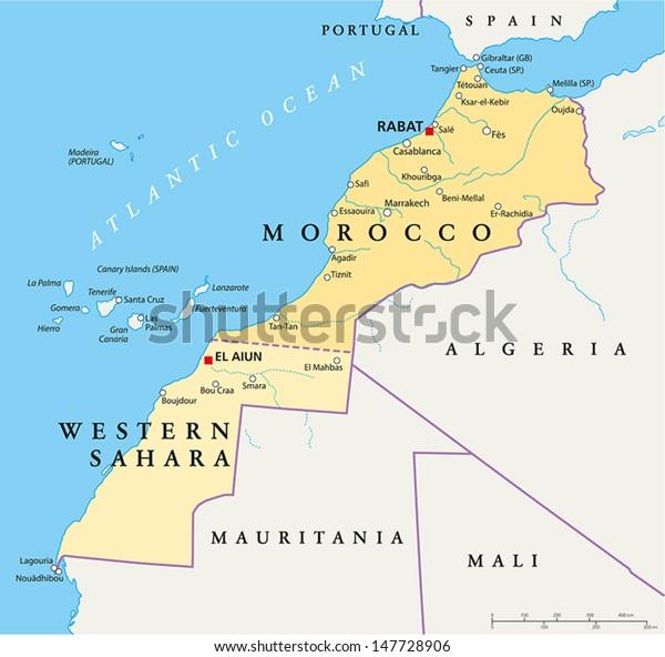Stockvektor 147728906 Med Marocko Och Vastsahara Karta