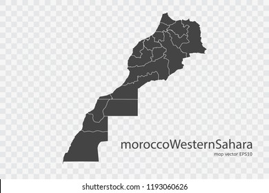 morocco Western Sahara map vector, isolated on transparent background.