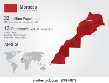 Morocco world map with a pixel diamond texture. World geography.