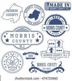 Morris county, New Jersey. Set of generic stamps and signs.