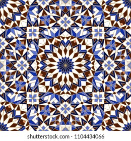 Morrocan seamless mosaic pattern. Arabic abstract background