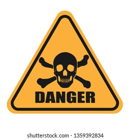 Mortal danger warning icon. Black silhouette of a skull on a yellow background. The image of death. Vector illustration.