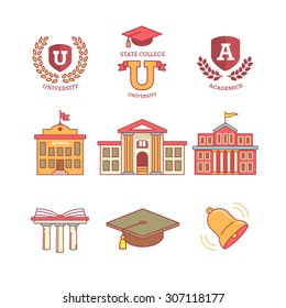 Mortar board, education, school, academy, college and university, library emblems and buildings. Thin line icons set. Modern flat style symbols isolated on white for infographics or web use.
