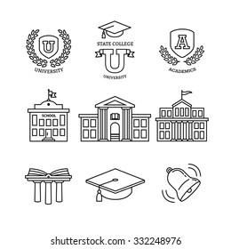 Mortar board, education, school, academy, college and university, library emblems and buildings. Thin line art icons set. Modern black symbols isolated on white for infographics or web use.