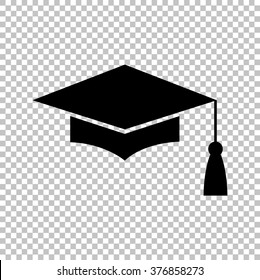 Mortar Board or Graduation Cap, Education symbol. Flat style icon vector illustration.
