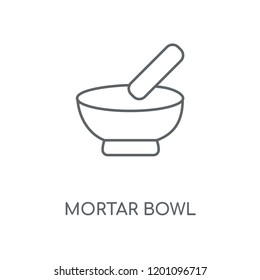 Mortar Bowl linear icon. Mortar Bowl concept stroke symbol design. Thin graphic elements vector illustration, outline pattern on a white background, eps 10.