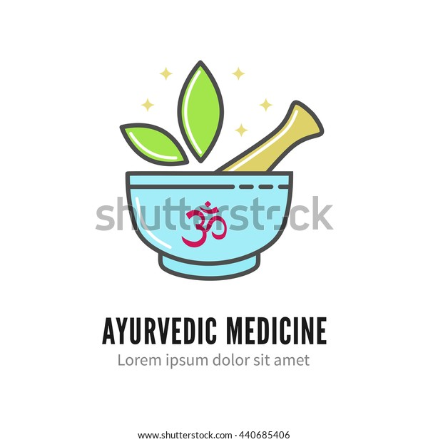 Mortar and pestle alternetive ayurvedic medicine logo, vector logo template isolated on white. Thin linear ayurvedic pharmacy logotype, herbal alternative medicine icon