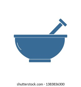 Mortar Pestle Blue Flat Icon On White Background , vector , illustration