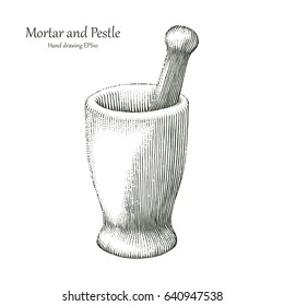 Mortar and Pestle hand drawing engraving style