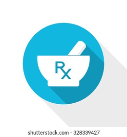 Mortar and pestle icon. Pharmacy symbol. White mortar and pestle icon with Rx sign - prescription symbol. Flat style pharmacy design.