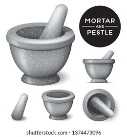 Mortar and Pestle isolated vector with top view and side view