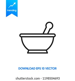 Mortar and pestle line icon, Kitchen pounder outline vector sign, linear pictogram isolated on white. logo illustration