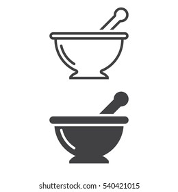Mortar and pestle line icon, Kitchen pounder outline and filled vector sign, linear and full pictogram isolated on white. Symbol, logo illustration
