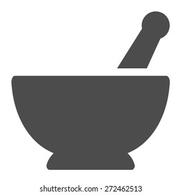 Mortar and pestle pharmacy flat vector icon for apps and websites