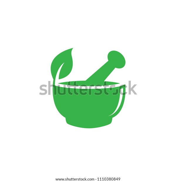 Mortar and pestle pharmacy nature herbal health logo design vector template