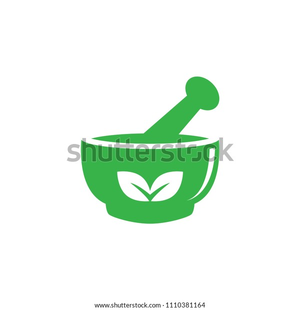 Mortar and pestle pharmacy nature herbal health logo design vector template