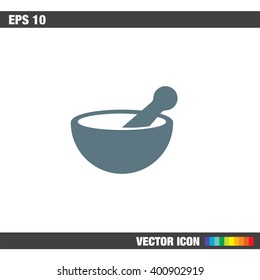 Mortar and pestle pharmacy vector icon
